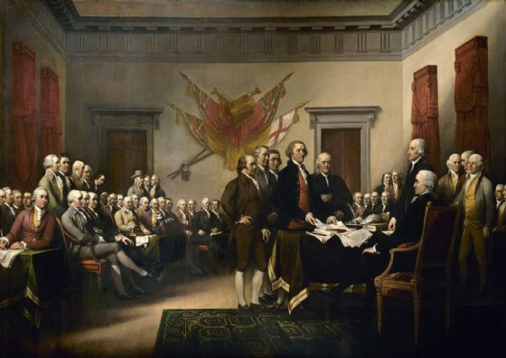 Trumbull, John: Signing the Declaration of Independence, 4th July 1776. Historical United States Fine Art Print/Poster. Sizes: A1/A2/A3/A4 (00388)